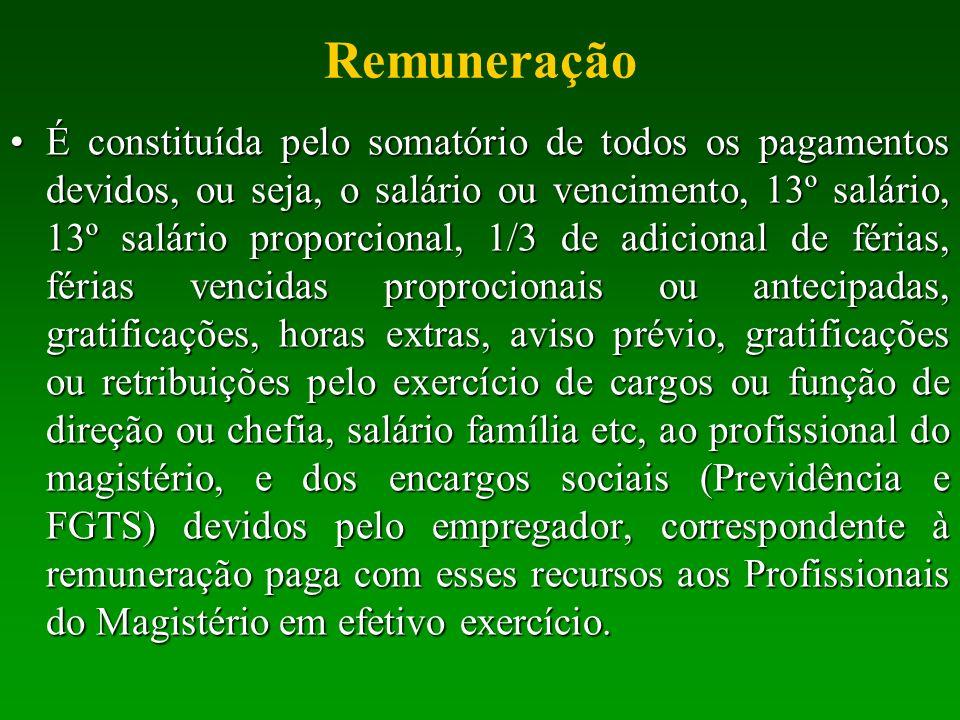 Remuneração É constituída pelo somatório de todos os pagamentos devidos, ou seja, o salário ou vencimento, 13º salário, 13º salário proporcional, 1/3