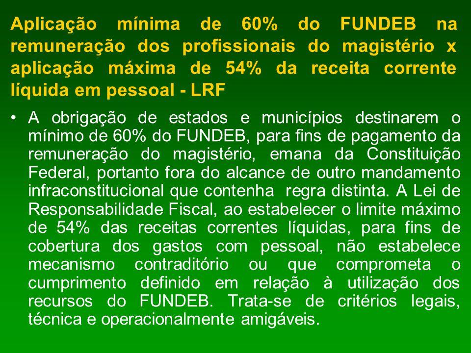 Aplicação mínima de 60% do FUNDEB na remuneração dos profissionais do magistério x aplicação máxima de 54% da receita corrente líquida em pessoal - LR