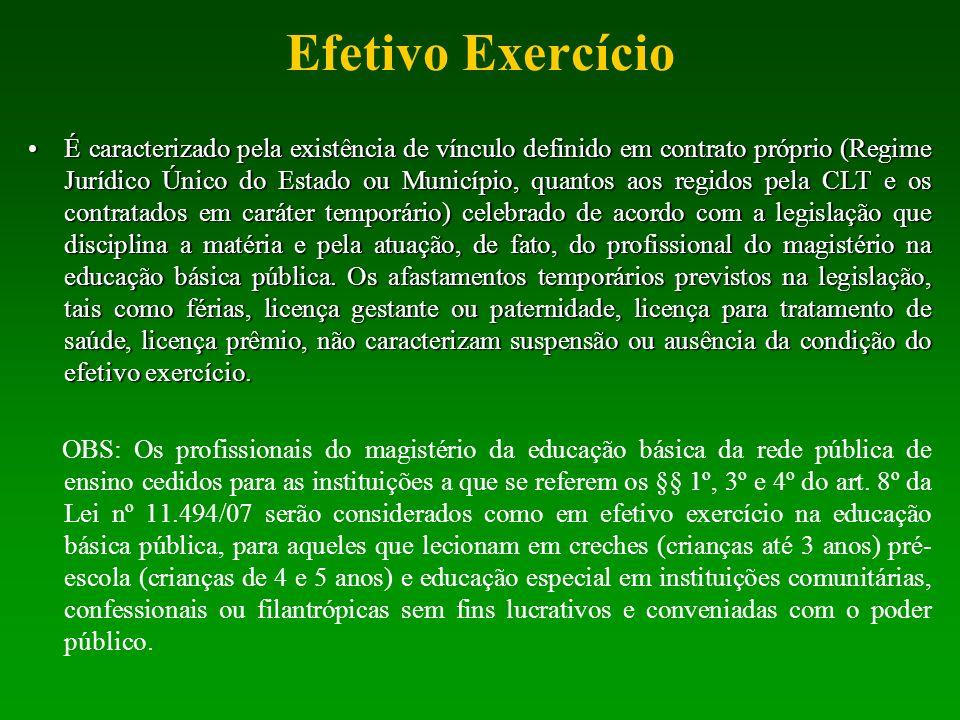 Efetivo Exercício É caracterizado pela existência de vínculo definido em contrato próprio (Regime Jurídico Único do Estado ou Município, quantos aos r