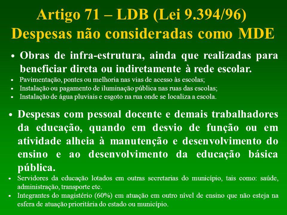 Artigo 71 – LDB (Lei 9.394/96) Despesas não consideradas como MDE Obras de infra-estrutura, ainda que realizadas para beneficiar direta ou indiretamen