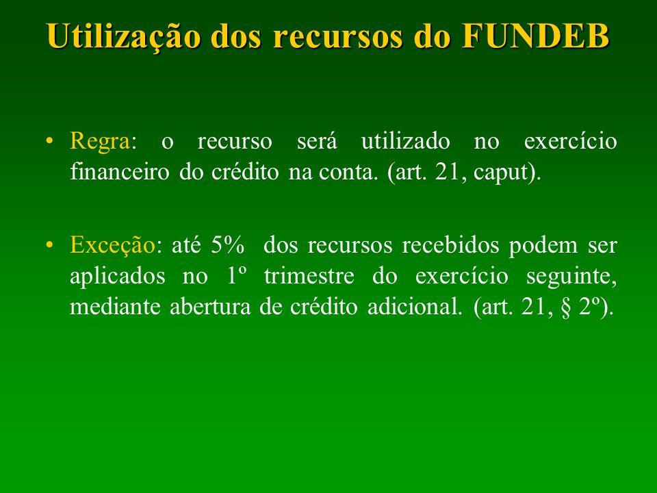 Utilização dos recursos do FUNDEB Regra: o recurso será utilizado no exercício financeiro do crédito na conta. (art. 21, caput). Exceção: até 5% dos r