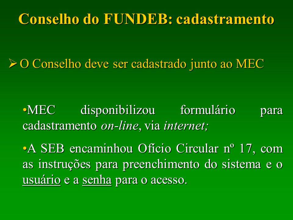 Conselho do FUNDEB: cadastramento O Conselho deve ser cadastrado junto ao MEC O Conselho deve ser cadastrado junto ao MEC MEC disponibilizou formulári