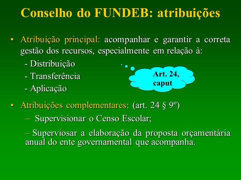 Conselho do FUNDEB: atribuições Atribuição principal: acompanhar e garantir a correta gestão dos recursos, especialmente em relação à:Atribuição princ