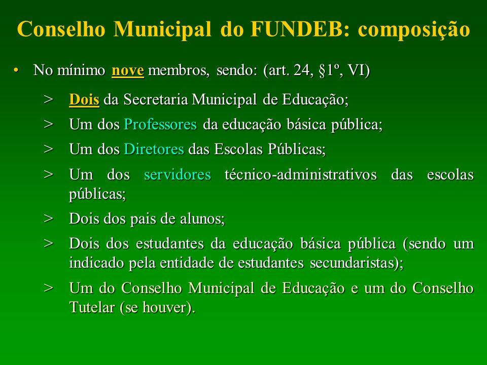 Conselho Municipal do FUNDEB: composição No mínimo nove membros, sendo: (art. 24, §1º, VI)No mínimo nove membros, sendo: (art. 24, §1º, VI) >Dois da S