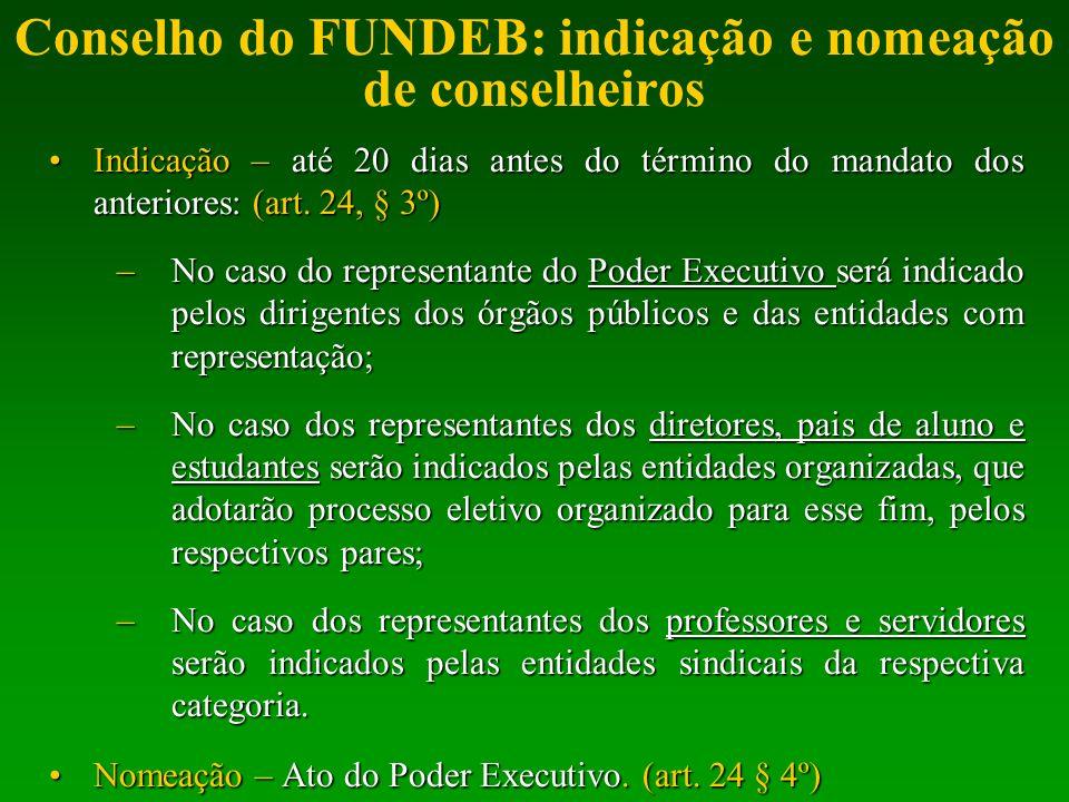 Conselho do FUNDEB: indicação e nomeação de conselheiros Indicação – até 20 dias antes do término do mandato dos anteriores: (art. 24, § 3º)Indicação