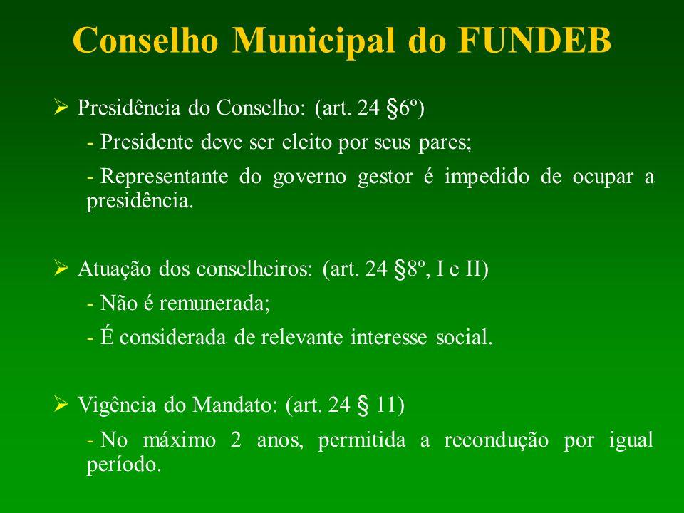 Presidência do Conselho: (art. 24 §6º) - Presidente deve ser eleito por seus pares; - Representante do governo gestor é impedido de ocupar a presidênc