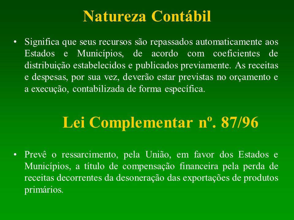 Natureza Contábil Significa que seus recursos são repassados automaticamente aos Estados e Municípios, de acordo com coeficientes de distribuição esta