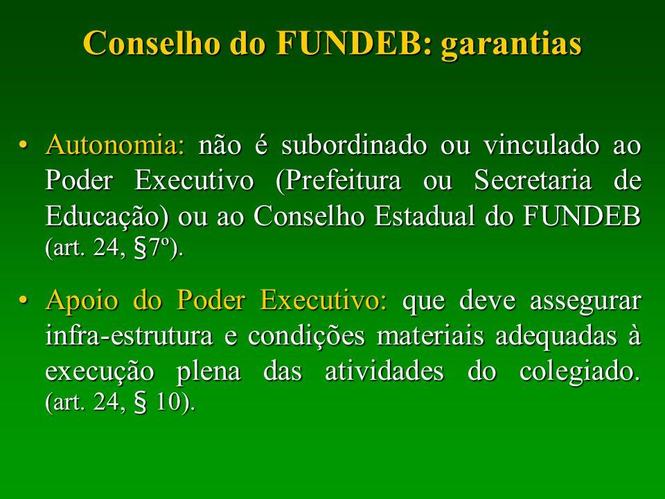 Conselho do FUNDEB: garantias Autonomia: não é subordinado ou vinculado ao Poder Executivo (Prefeitura ou Secretaria de Educação) ou ao Conselho Estad