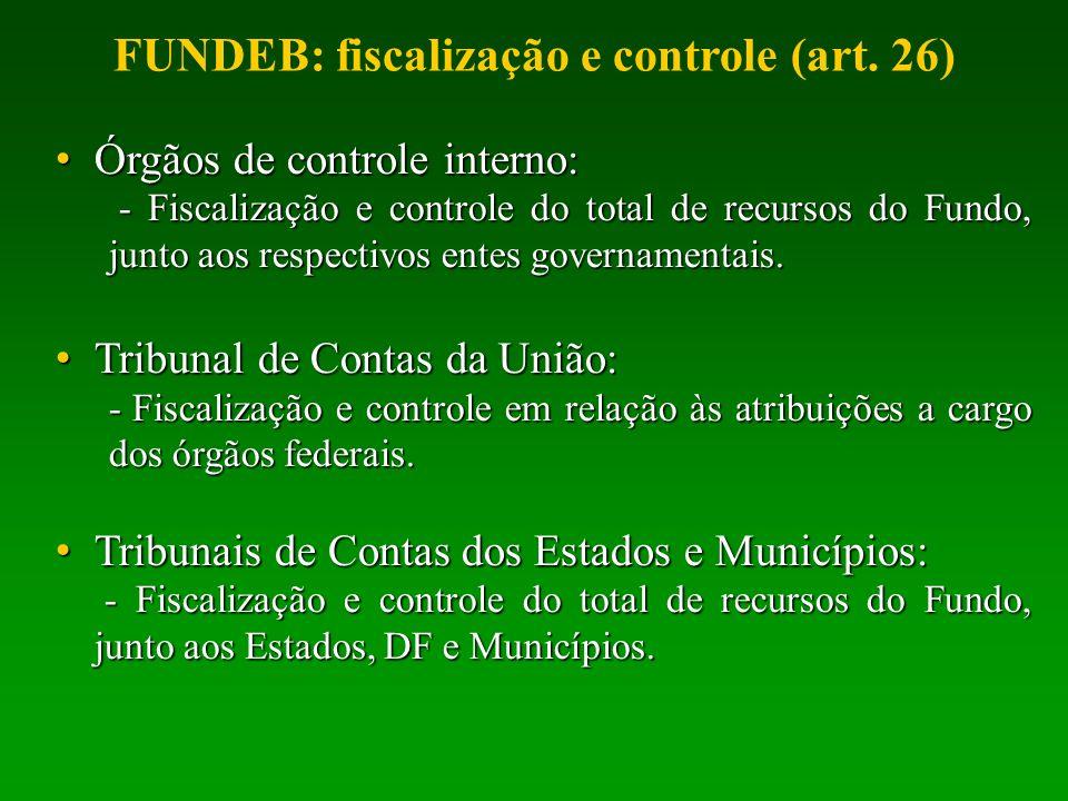 Órgãos de controle interno: Órgãos de controle interno: - Fiscalização e controle do total de recursos do Fundo, junto aos respectivos entes govername