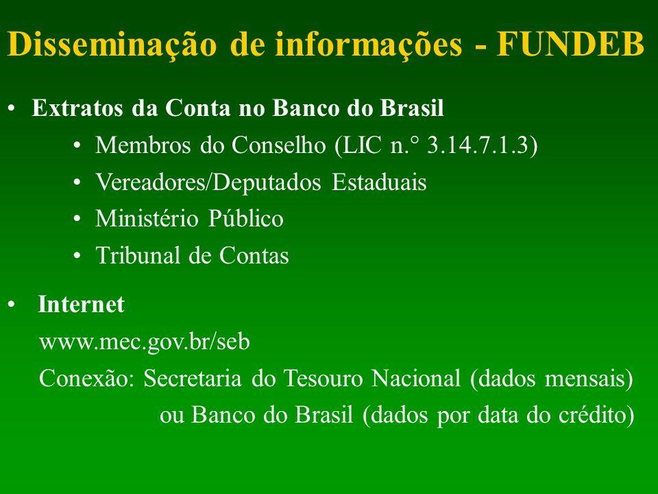 Disseminação de informações - FUNDEB Extratos da Conta no Banco do Brasil Membros do Conselho (LIC n.° 3.14.7.1.3) Vereadores/Deputados Estaduais Mini