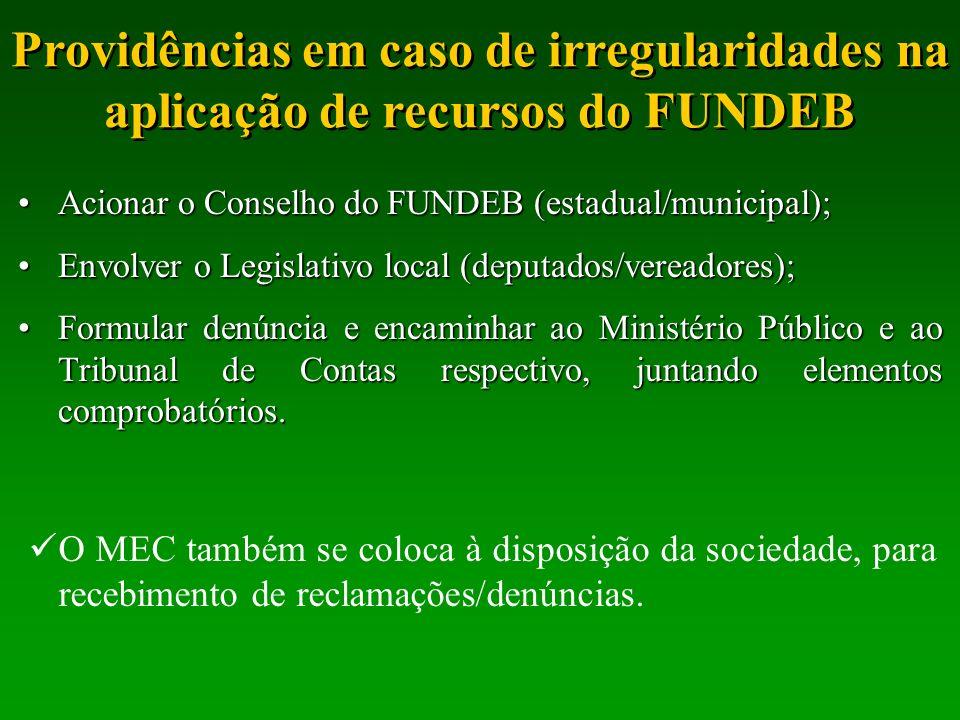 Providências em caso de irregularidades na aplicação de recursos do FUNDEB Acionar o Conselho do FUNDEB (estadual/municipal);Acionar o Conselho do FUN