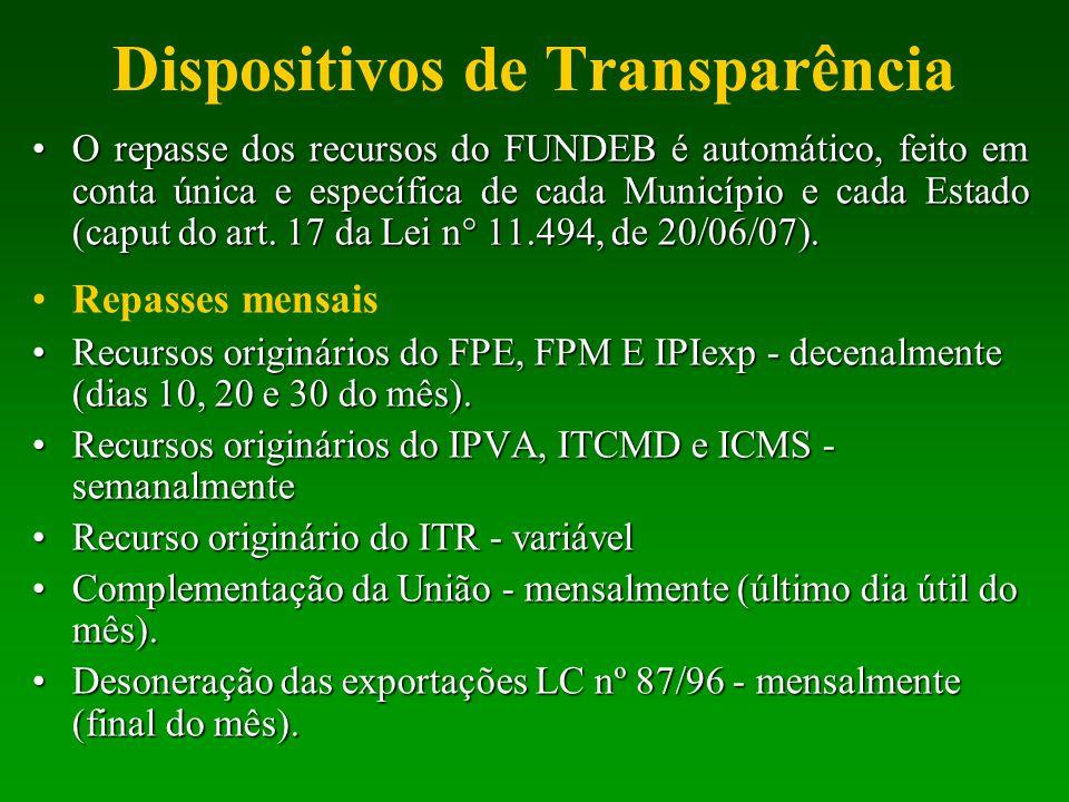 Dispositivos de Transparência O repasse dos recursos do FUNDEB é automático, feito em conta única e específica de cada Município e cada Estado (caput
