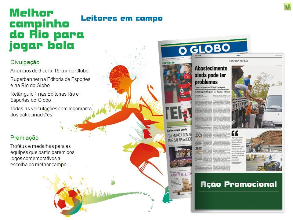 Divulgação Anúncios de 6 col x 15 cm no Globo Superbanner na Editoria de Esportes e na Rio do Globo Retângulo 1 nas Editorias Rio e Esportes do Globo