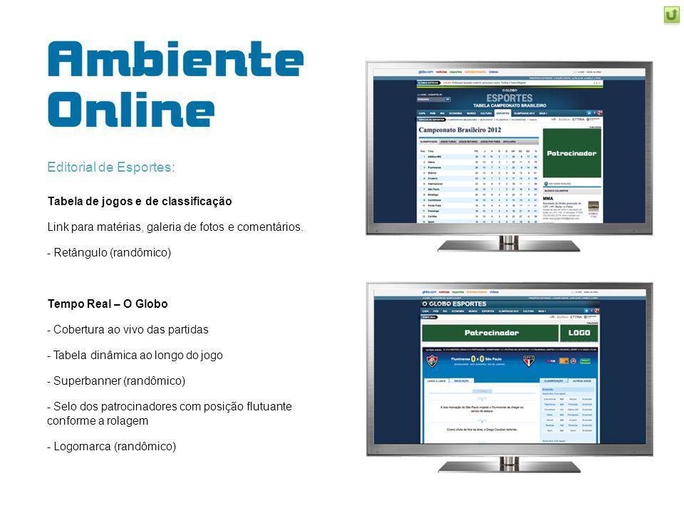 Editorial de Esportes: Tabela de jogos e de classificação Link para matérias, galeria de fotos e comentários. - Retângulo (randômico) Tempo Real – O G