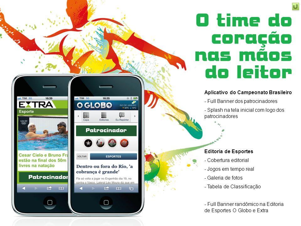 Aplicativo do Campeonato Brasileiro - Full Banner dos patrocinadores - Splash na tela inicial com logo dos patrocinadores Editoria de Esportes - Cober