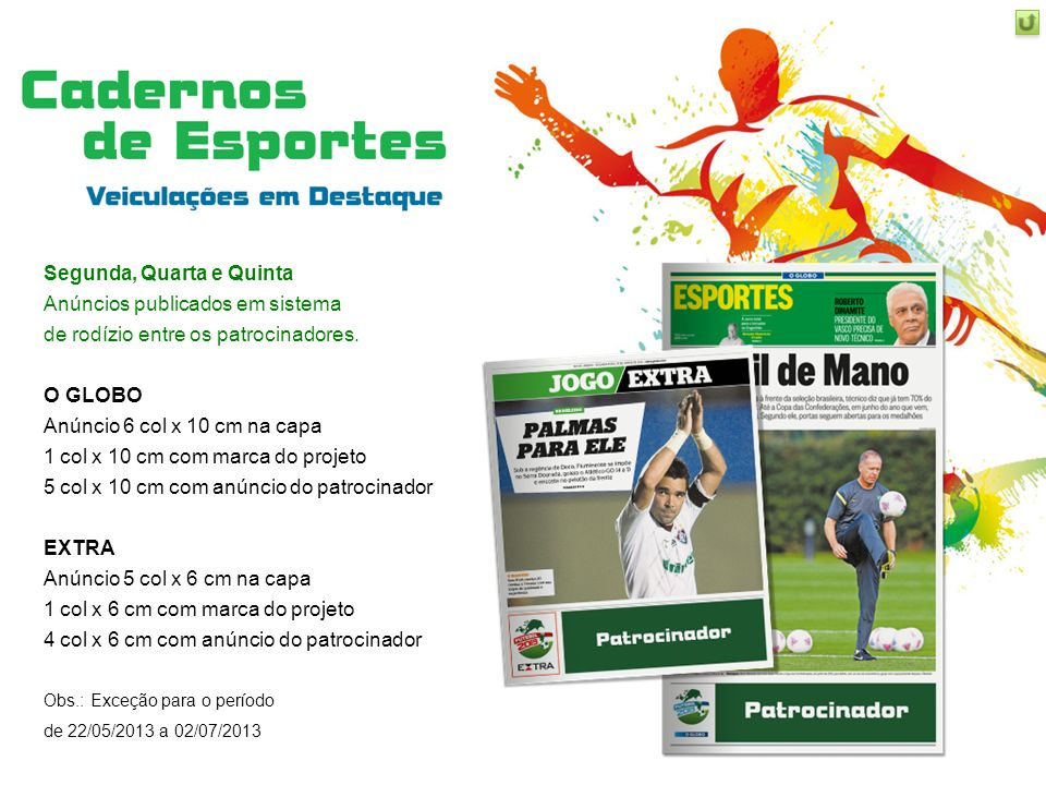 Quinta e Domingo Anúncios publicados em sistema de rodízio entre os patrocinadores.