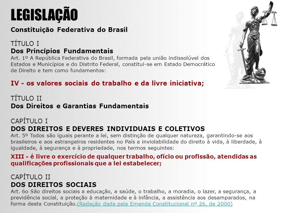 LEGISLAÇÃO Constituição Federativa do Brasil TÍTULO I Dos Princípios Fundamentais Art. 1º A República Federativa do Brasil, formada pela união indisso