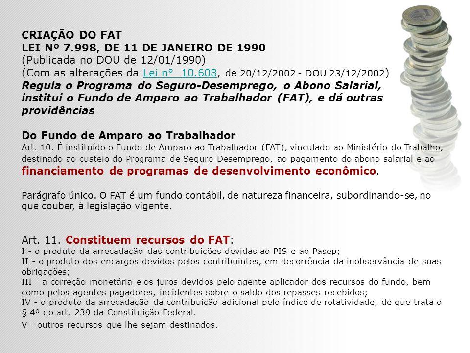 CRIAÇÃO DO FAT LEI Nº 7.998, DE 11 DE JANEIRO DE 1990 (Publicada no DOU de 12/01/1990) (Com as alterações da Lei n° 10.608, de 20/12/2002 - DOU 23/12/2002 )Lei n° 10.608 Regula o Programa do Seguro-Desemprego, o Abono Salarial, institui o Fundo de Amparo ao Trabalhador (FAT), e dá outras providências Do Fundo de Amparo ao Trabalhador Art.