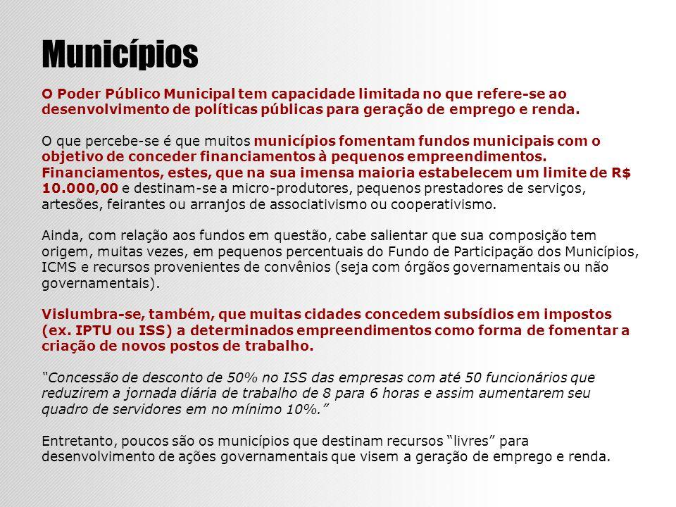 Municípios O Poder Público Municipal tem capacidade limitada no que refere-se ao desenvolvimento de políticas públicas para geração de emprego e renda