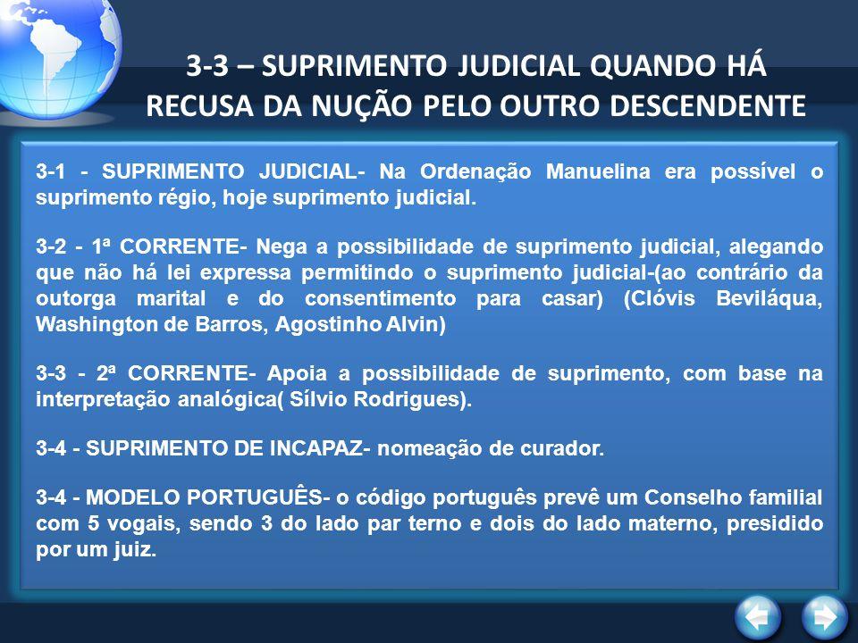 3-3 – SUPRIMENTO JUDICIAL QUANDO HÁ RECUSA DA NUÇÃO PELO OUTRO DESCENDENTE 3-1 - SUPRIMENTO JUDICIAL- Na Ordenação Manuelina era possível o suprimento régio, hoje suprimento judicial.