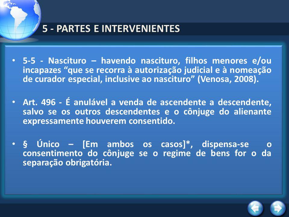 5 - PARTES E INTERVENIENTES 5-5 - Nascituro – havendo nascituro, filhos menores e/ou incapazes que se recorra à autorização judicial e à nomeação de c