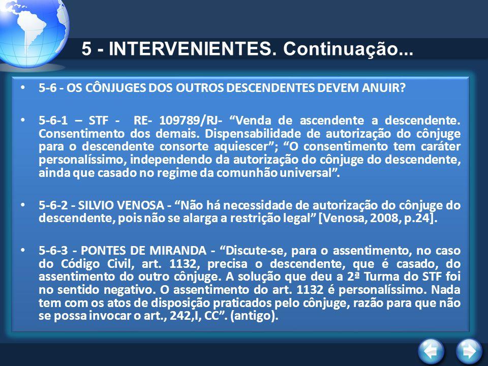 5 - INTERVENIENTES. Continuação... 5-6 - OS CÔNJUGES DOS OUTROS DESCENDENTES DEVEM ANUIR? 5-6-1 – STF - RE- 109789/RJ- Venda de ascendente a descenden