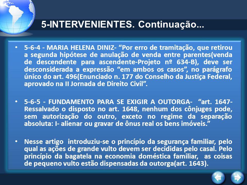 5-INTERVENIENTES. Continuação... 5-6-4 - MARIA HELENA DINIZ- Por erro de tramitação, que retirou a segunda hipótese de anulação de venda entre parente