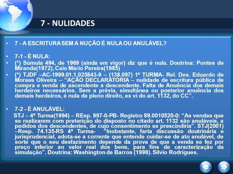 7 - NULIDADES 7 - A ESCRITURA SEM A NUÇÃO É NULA OU ANULÁVEL.