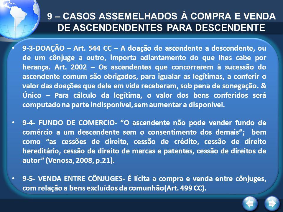9 – CASOS ASSEMELHADOS À COMPRA E VENDA DE ASCENDENDENTES PARA DESCENDENTE 9-3-DOAÇÃO – Art. 544 CC – A doação de ascendente a descendente, ou de um c
