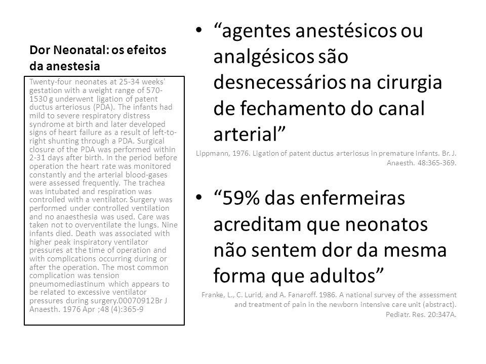 Em 10 prematuros (1223 g ± 263 g), fentanyl (30 a 50 mcg/kg) foi utilizado em conjunto com Pancurônio (0,1 mg/kg) como anestesia para Ligadura trans-torácica de ducto arterioso patente.