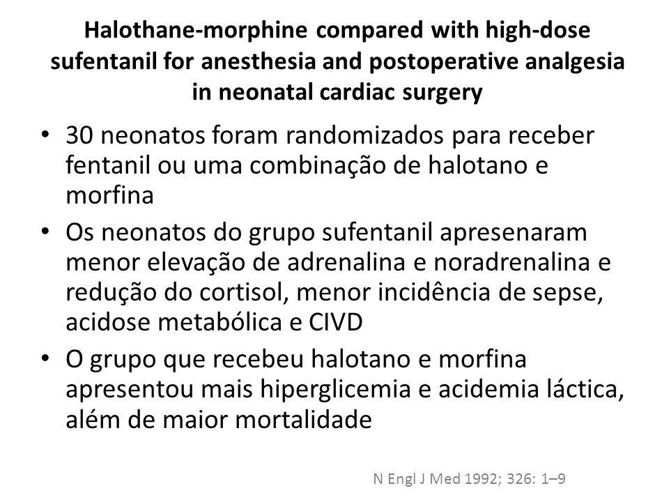 Stress Response in Infants Undergoing Cardiac Surgery: A Randomized Study of Fentanyl Bolus, Fentanyl Infusion, and Fentanyl-Midazolam Infusion Grupo 1: Fentanyl bolus 25 mcg/kg Grupo 2: Fentanyl em bolus 25 mcg/kg seguido de infusão contínua 10 mcg/kg/h Grupo 3: Fentanyl (bolus) + midazolam (200mcg/kg) seguido de fentanyl contínuo e midazolam contínuo (100mcg/kg/h) Anesth Analg 2001;92:882-890