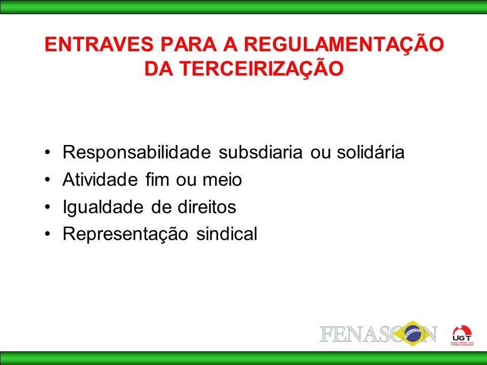 ENTRAVES PARA A REGULAMENTAÇÃO DA TERCEIRIZAÇÃO Responsabilidade subsdiaria ou solidária Atividade fim ou meio Igualdade de direitos Representação sindical