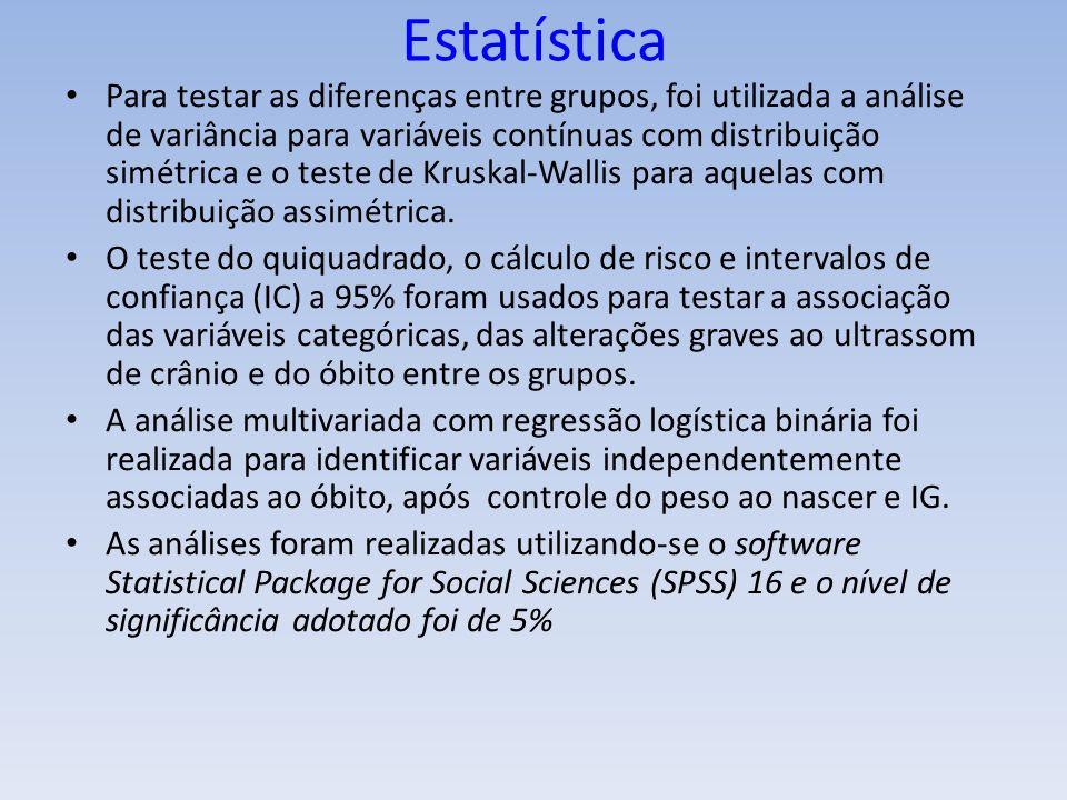 Estatística Para testar as diferenças entre grupos, foi utilizada a análise de variância para variáveis contínuas com distribuição simétrica e o teste de Kruskal-Wallis para aquelas com distribuição assimétrica.
