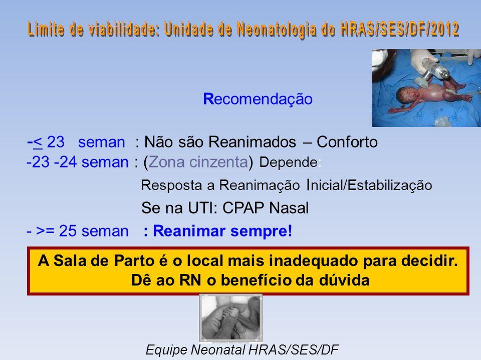 Recomendação - < 23 seman : Não são Reanimados – Conforto -23 -24 seman : (Zona cinzenta) Depende: Resposta a Reanimação I nicial/Estabilização Se na UTI: CPAP Nasal - >= 25 seman : Reanimar sempre.