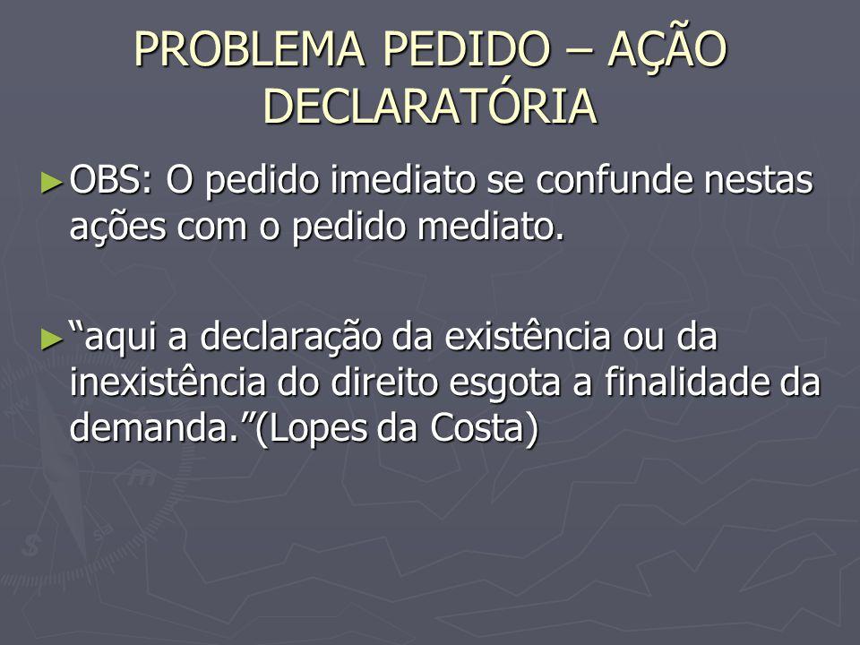 PROBLEMA PEDIDO – AÇÃO DECLARATÓRIA OBS: O pedido imediato se confunde nestas ações com o pedido mediato.