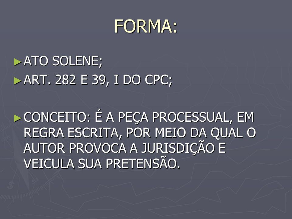 FORMA: ATO SOLENE; ATO SOLENE; ART.282 E 39, I DO CPC; ART.