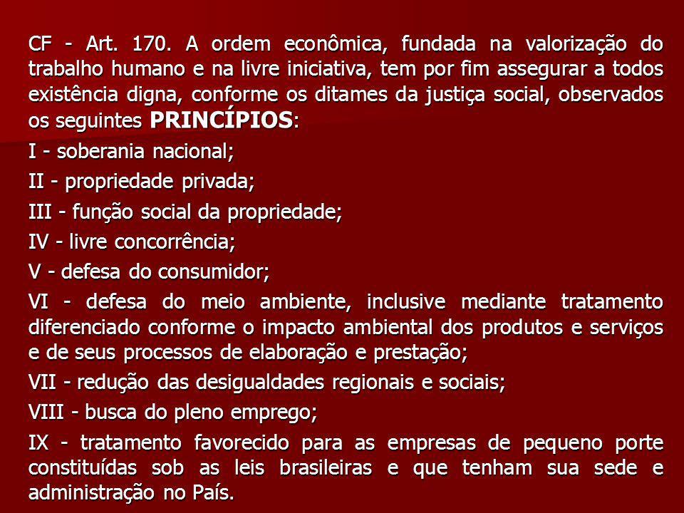 CF - Art. 170. A ordem econômica, fundada na valorização do trabalho humano e na livre iniciativa, tem por fim assegurar a todos existência digna, con
