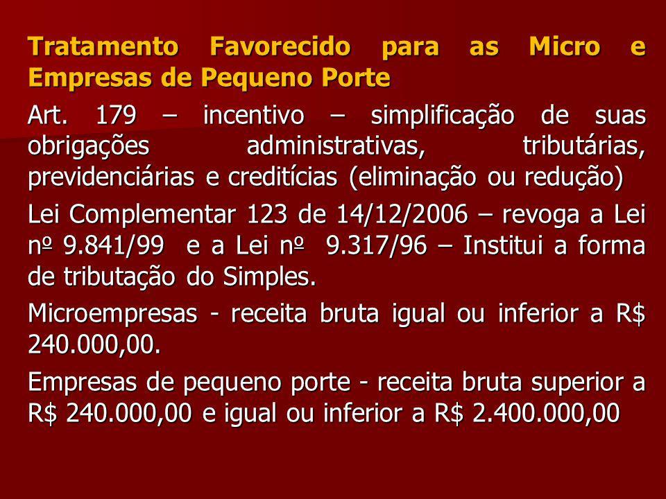 Tratamento Favorecido para as Micro e Empresas de Pequeno Porte Art. 179 – incentivo – simplificação de suas obrigações administrativas, tributárias,