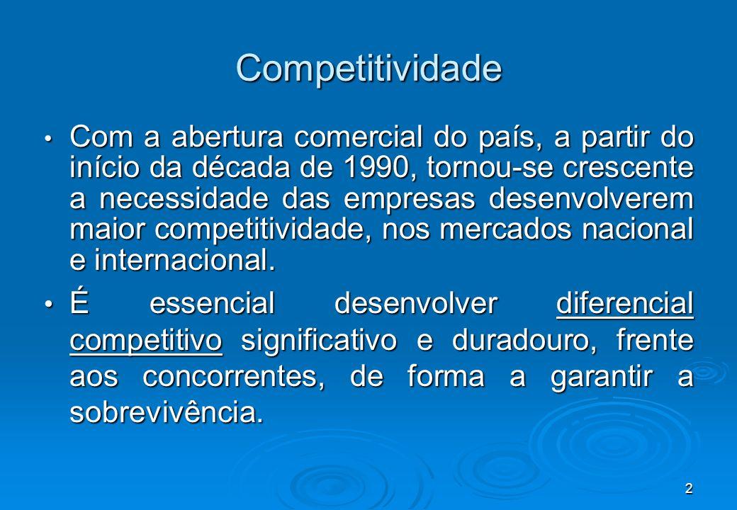 2 Competitividade Com a abertura comercial do país, a partir do início da década de 1990, tornou-se crescente a necessidade das empresas desenvolverem