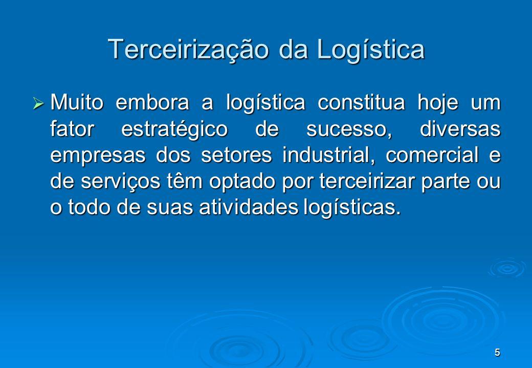 5 Terceirização da Logística Muito embora a logística constitua hoje um fator estratégico de sucesso, diversas empresas dos setores industrial, comerc