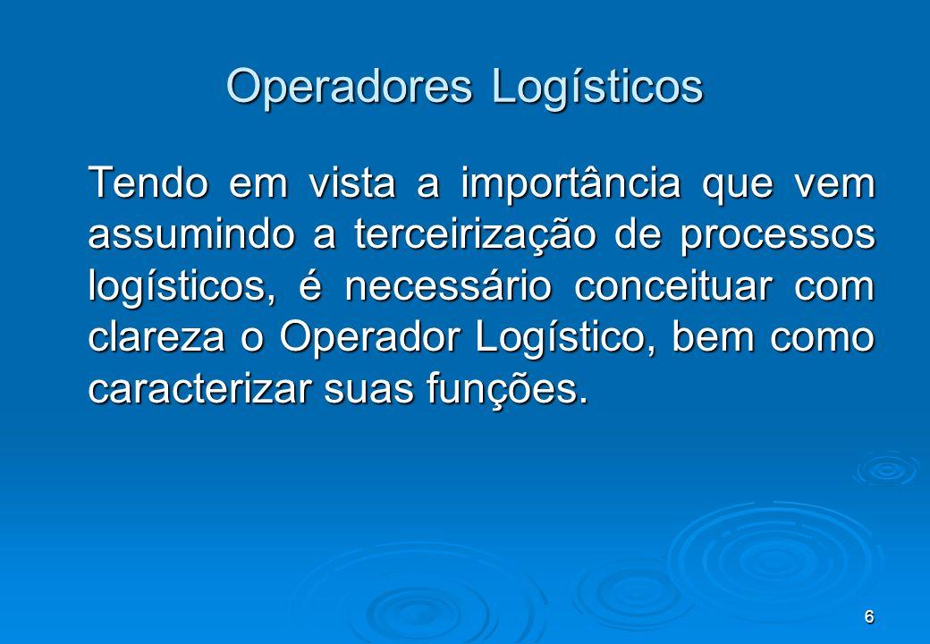 6 Operadores Logísticos Tendo em vista a importância que vem assumindo a terceirização de processos logísticos, é necessário conceituar com clareza o