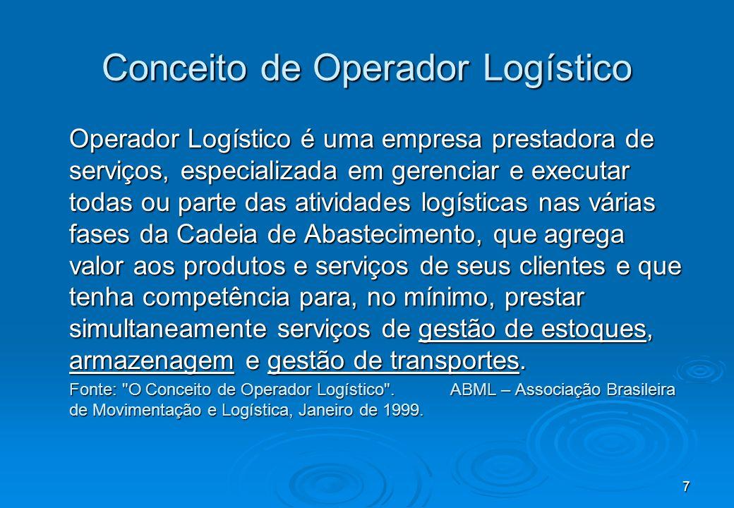 7 Conceito de Operador Logístico Operador Logístico é uma empresa prestadora de serviços, especializada em gerenciar e executar todas ou parte das ati