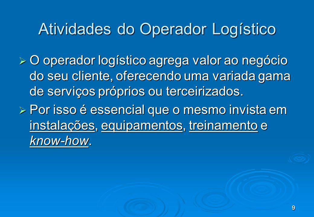 9 Atividades do Operador Logístico O operador logístico agrega valor ao negócio do seu cliente, oferecendo uma variada gama de serviços próprios ou te