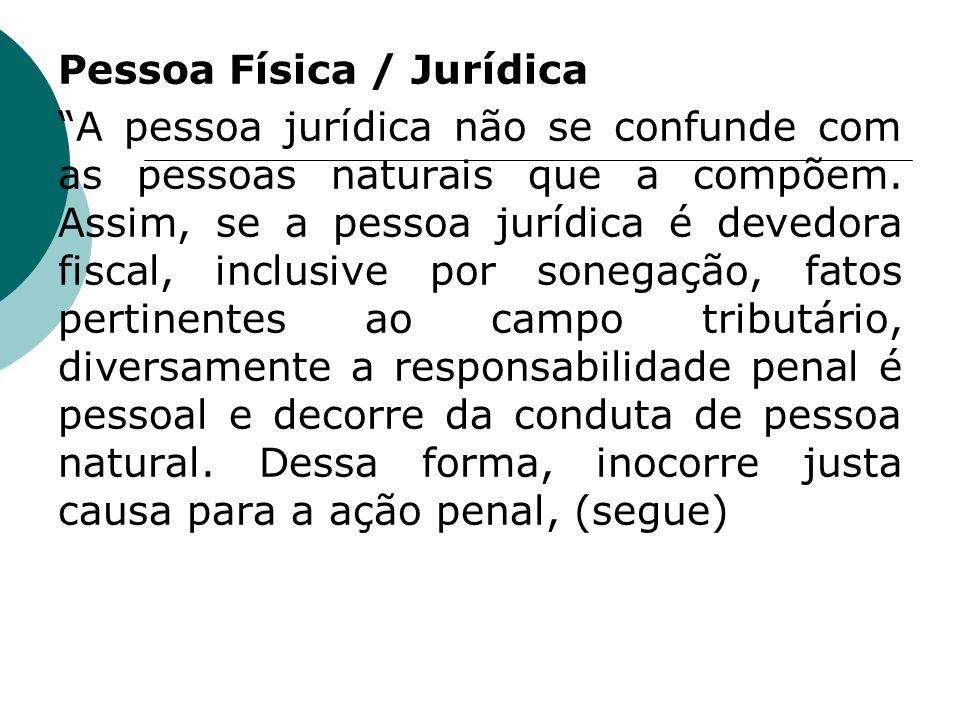 Pessoa Física / Jurídica A pessoa jurídica não se confunde com as pessoas naturais que a compõem. Assim, se a pessoa jurídica é devedora fiscal, inclu