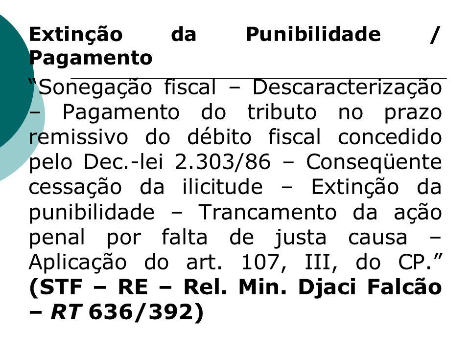 Extinção da Punibilidade / Pagamento Sonegação fiscal – Descaracterização – Pagamento do tributo no prazo remissivo do débito fiscal concedido pelo De