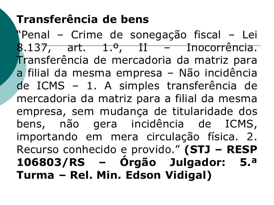 Transferência de bens Penal – Crime de sonegação fiscal – Lei 8.137, art. 1.º, II – Inocorrência. Transferência de mercadoria da matriz para a filial