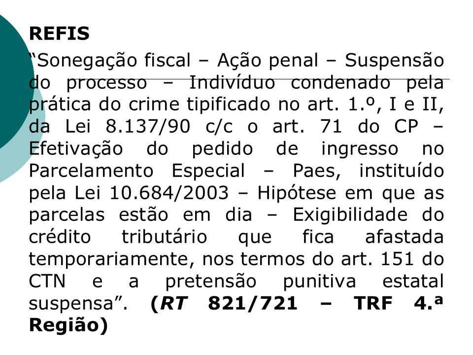 REFIS Sonegação fiscal – Ação penal – Suspensão do processo – Indivíduo condenado pela prática do crime tipificado no art. 1.º, I e II, da Lei 8.137/9