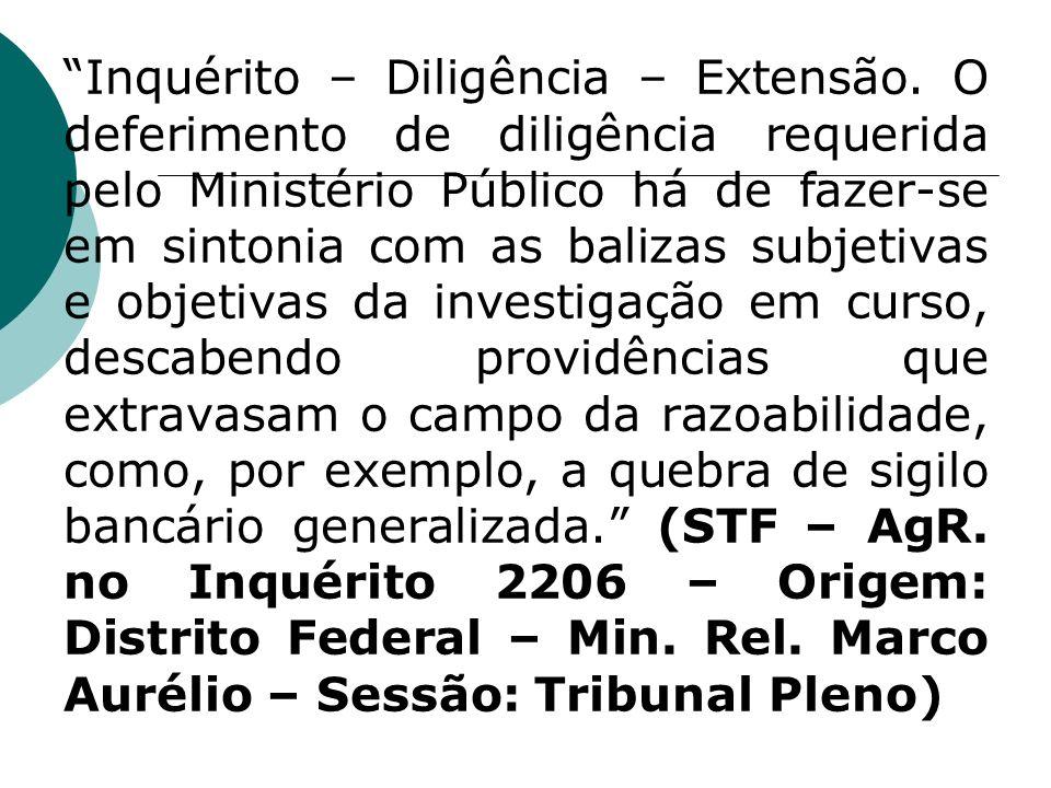 Inquérito – Diligência – Extensão. O deferimento de diligência requerida pelo Ministério Público há de fazer-se em sintonia com as balizas subjetivas
