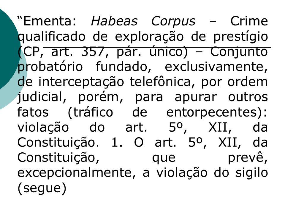 Ementa: Habeas Corpus – Crime qualificado de exploração de prestígio (CP, art. 357, pár. único) – Conjunto probatório fundado, exclusivamente, de inte