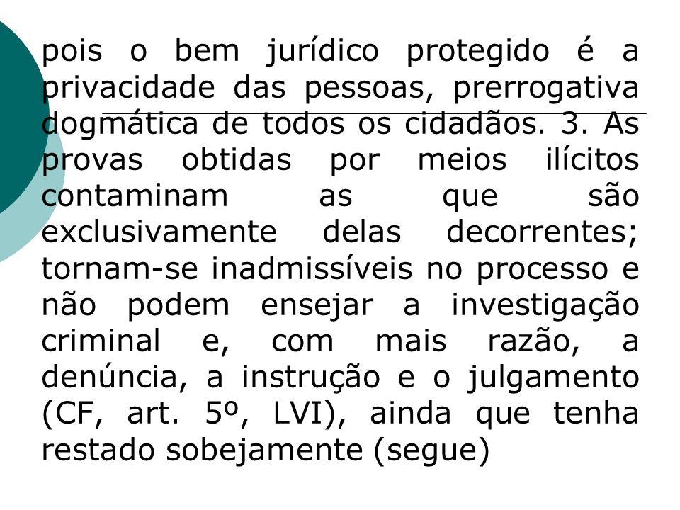 pois o bem jurídico protegido é a privacidade das pessoas, prerrogativa dogmática de todos os cidadãos. 3. As provas obtidas por meios ilícitos contam